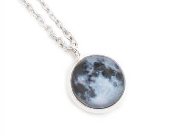 Full Moon Small Pendant Necklace Lunar Night Sky Celestial Astronomy