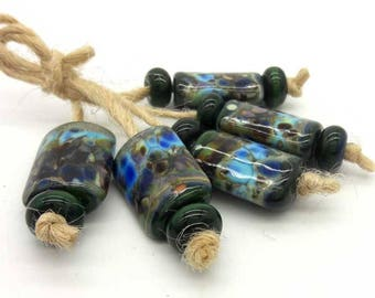 Lampwork beads handmade Beads supplies jewelry Beads for jewelry making Murano beads Set beads Beads SRA Beads green, blue, brown.