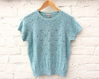 Summer knit, vintage 80's sweater, short sleeve pullover, cotton slub knitwear