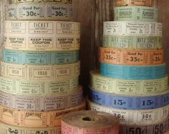 100 Vintage and Antique Tickets Pretty and Soft farmhouse Colors Carnival/Circus/Drive In/Admission/Circus Lot