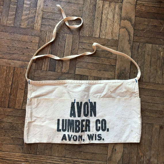 Vintage Hardware Store Lumber Yard Advertising Apron, Avon Lumber Co, Avon Wisconsin, Canvas Shop Apron