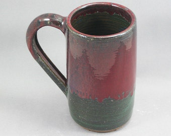 Pottery Beer Mug Red & Green to Black REDGTB32