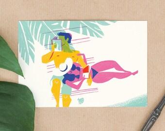 Postcard Couple reading on the beach -mini giclee art print illustration of a couple on vacation. Honeymoon paradise Island. Tropical summer