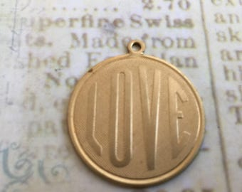 Large LOVE Charms Set of 4 Brass