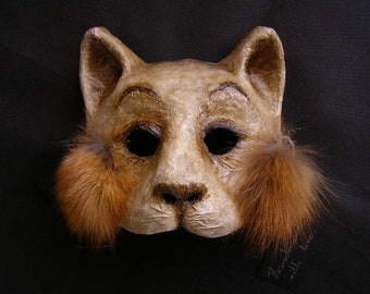 Masquerade mask, Cat Mask, Paper mache mask, Halloween mask, Mardi Gras Mask, Scary mask, Theatre Mask, Face Mask, Animal Mask, Party