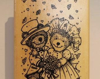 Teddy Bear Wedding Bride and Groom Rubber Stamp
