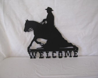 Reining Horse Welcome Western Wall Art Metal Silhouette
