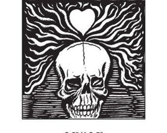 Skull and Heart Rubber Stamp 316