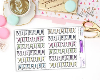 Solid Weekend Banner Doodles  FC-002 | 12 Planner Stickers