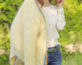 Cable ivory mohair cardigan with satin lining by SuperTanya