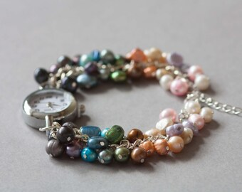 Rainbow freshwater pearls beaded watch bracelet, June birthstone watch.