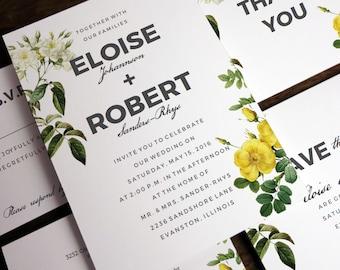 Printable Wedding Invitation Set - Wedding Printables - Wedding Invite Set - Wedding Invitation Templates - Yellow and White Roses - PDFs