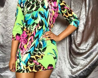 1980s Vintage Styled Bright Neon Green, pink, turquoise and orange Dress