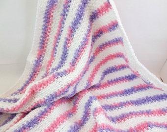 Crochet Baby Afghan Car Seat Blanket Purple Pink and White Baby Girl Blanket