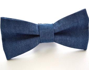 Mens Bowtie in Dark Denim, Blue Jean Bow Tie, Groomsmen Bow Tie, Wedding Bow Ties, Casual Bow Tie, Adjustable Bow Tie