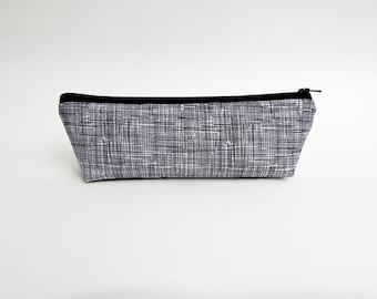Black and White Pencil Case - Minimalist Zipper Pouch - Makeup Bag - Back to School Supply - Gifts Under 20