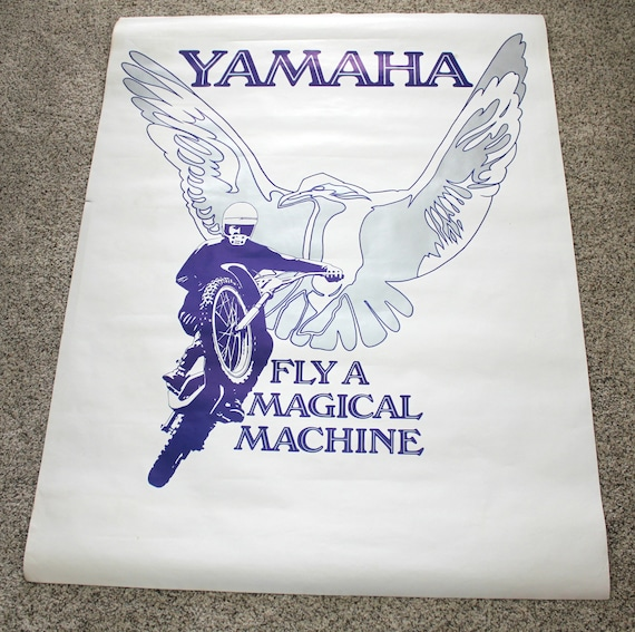 Yamaha Fly A Magical Machine Poster, Vintage Motorcycle Dealer Advertising