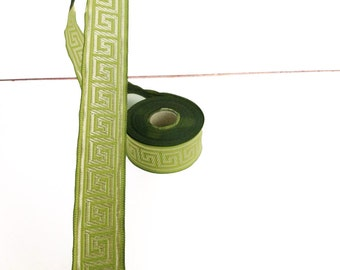 33 mm green and gold Jacquard ribbon, Embroidered border , Embroidered ribbon, green and gold Greek key Jacquard trim, Woven Border