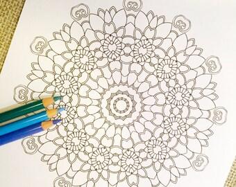 "Mandala ""Fiore"" - Hand Drawn Adult Coloring Page Print"