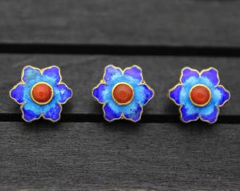 13x9mm Sterling silver flower beads,Cloisonne,Blue enamel flower beads,gold plated,spacer beads