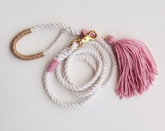 Pink Dog Leash / Rose & Gold / Rope Dog Leash Blush Wedding