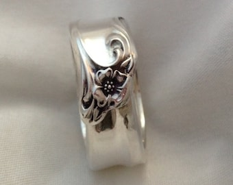 Spoon Ring, Gaiety 1961, Vintage Silverplate Ring, Size 4 to 12, Handmade Ring, Vintage Ring, Floral Ring, Silverware Jewelry