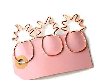 Set of 3 rose gold pineapple paper clips, rose gold planner clips, bookmarks, planner supplies, rose gold binder clips, page marker