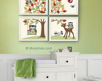 Nursery Art - Baby Boys Room Decor - Kids Room Nursery Decor, Owl Nursery Decor , Set of Four Prints, Boys Room Decor - Woodland Animals