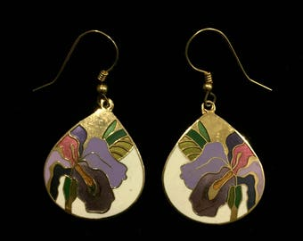 Vintage 80's Meow Floral Enamel Earrings • Iris Design in White, Purple, Pink and Gold • Dangly Earrings • Classic Preppie 80's Style