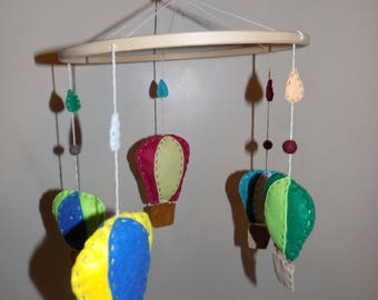 Air balloons- Handmade Felt baby mobile
