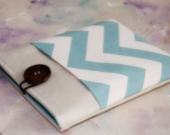 Ipad Case with Pocket, Ipad sleeve, Tablet Case with pocket, Tablet Sleeve, Padded Cases for ipad in Blue Chevron