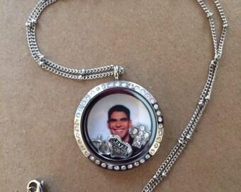 Floating locket with photo, customizable photo locket, Memory locket with photo, Loss of child, In memory of