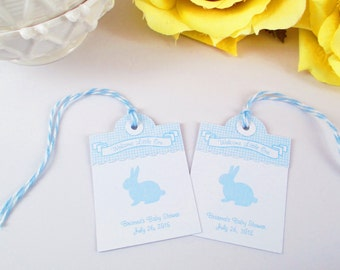 Baby Tag, Rabbit Gift Tag, Bunny Baby Shower Favor Tag, Baby Boy Thank You Bag Tag, Blue Baby Shower, It's a Boy Tag, Baby Boy Shower Tag