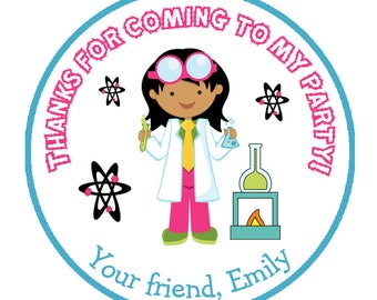 science birthday stickers -  favor tag -- goody bag tag -- personalized birthday sticker - science party, museum party