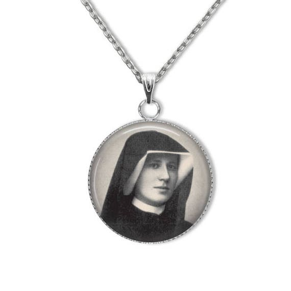 St Faustina Pendant- Stainless Steel- 18 or 24 in stainless steel chain- Messenger of Divine Mercy, Patron Saint of World Youth Day