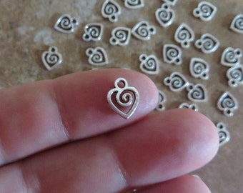 24 Mini SWIRL HEART CHARMS Very Small Love Valentine Hearts Jewelry Supplies Please Read Item Details  9.5x8.5mm Extension Chain Drops