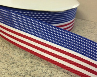 """1.5"""" Patriotic Stripe Ribbon - Red, White & Blue - American Flag -Fourth of July - 100% Polyester -Made in USA"""