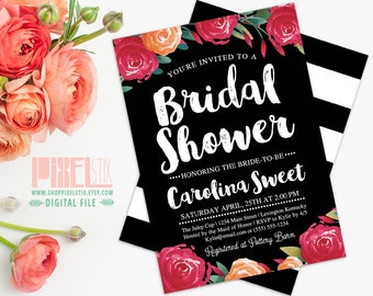 Trendy Watercolor Floral Bridal Shower Invitation - CUSTOMIZABLE PRINTABLE INVITATION - Watercolor Cranberry Flowers with Peach