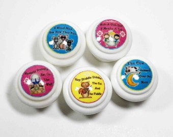 Decorative Knobs for Kids. Nursery Rhymes for the Nursery or Playroom. Decorate Kids' Dressers or Cabinet Doors. Bulk Discounts Available.