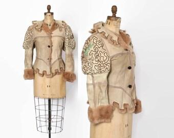 Vintage 70s Custom Boho Jacket/ 1970s Insane Reversible Fur Lined Suede Embroidered Snake Skin Coat
