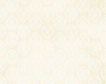 Ruru Bouquet Love Rose Love Cotton Fabric Rose ru2300-17a Damask Pattern White on Cream
