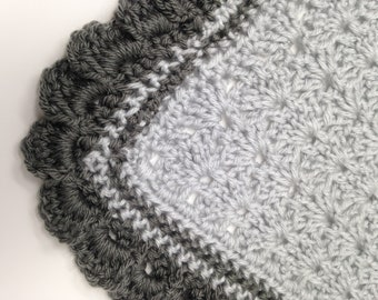 Crochet Baby Blanket | Beautiful Baby Shower Gift | Two Shades of Gray Stripe | Shell Stitch with Ruffled Edge