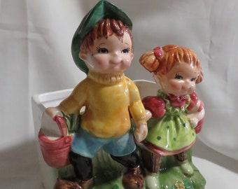 Vintage Lefton Jack and Jill Children Ceramic Planter