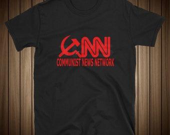 CNN Communist News Network Funny Political Tee Shirt FAKE NEWS