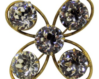 Magnificent Vintage Freirich Gold Rhinestone Brooch/Pin 1960 Victorian Jewelry Rhinestone Jewelry Bridal Pin Statement Jewlery
