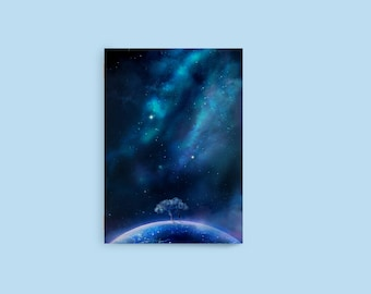 "Fantasy Space Blank Notebook, 4"" x 6"" Notebook, Pocket Notebook, Space Artwork, Anime Notebook, Sketchbook, Galaxy Notebook, Stationary"