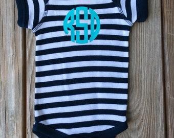 Monogrammed Navy or Grey Striped Baby Onzie - Custom Onzie - Monogrammed Onsie