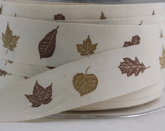 "Fall Leaves Printed Ribbon, 3/4"" wide by the yard, Leaf Ribbon, Cotton Twill Trim, Sewing, Gift Wrapping, Thanksgiving, Party Supplies"