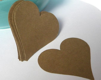 75 die cut paper hearts - large kraft hearts - DIY heart tags - heart cut outs - guest book hearts - paper garland supplies