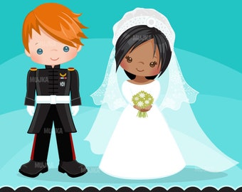 Royal wedding clipart, Duke and Duchess of Sussex characters, british wedding, Prince Harry, Meghan Markle characters, graphic, royal couple